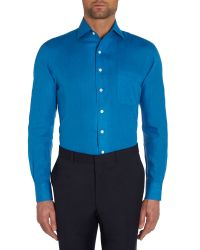 Chester Barrie - Blue Plain Tailored Fit Long Sleeve Shirt for Men - Lyst