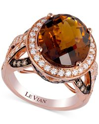 Le Vian | Brown Chocolatier® Crazy Collection® Cognac Quartz (6-1/7 Ct. T.w.) And Diamond (1 Ct. T.w.) Ring In 14k Rose Gold | Lyst