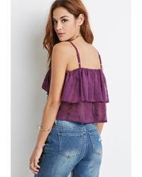 Forever 21 - Purple Floral-embroidered Flounce Cami - Lyst