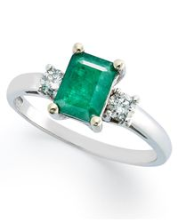 Macy's | Green 14k White Gold Ring, Emerald (3/4 Ct. T.w.) And Diamonds (1/5ct. T.w.) Emerald Cut 3 Stone Ring | Lyst