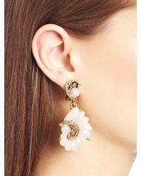 Oscar de la Renta - White Resin Swirl Scalloped Earrings - Lyst