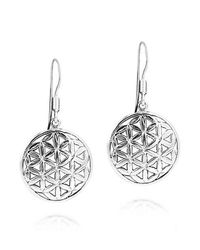 Aeravida - Metallic Flower Of Life Water Lilies Connection .925 Silver Earrings - Lyst