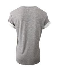 Vince - Gray Colorblock Roll Sleeve Tee - Lyst