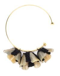 Marni | Metallic Horn, Resin & Wool Knit Flower Collar Necklace | Lyst