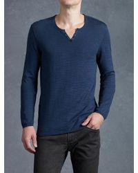 John Varvatos | Blue Eyelet Placket Sweater for Men | Lyst