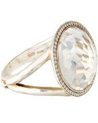 Ippolita - Metallic Silver Clear Quartz And Diamond Stella Lollipop Ring - Lyst