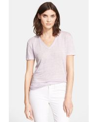VINCE | Purple Shirttail V-neck Tee | Lyst