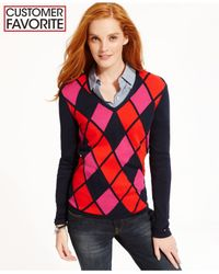 Tommy Hilfiger | Black Argyle Sweater | Lyst