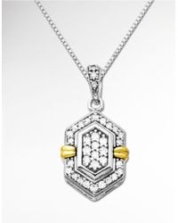 Lord & Taylor | Metallic Diamond Pendant In Sterling Silver With 14k Yellow Gold | Lyst