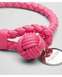Bottega Veneta - Pink Rosa Shock Intrecciato Nappa Bracelet - Lyst