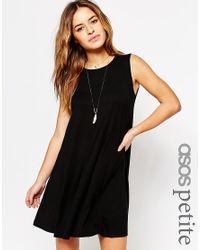 ASOS - Black Sleeveless Swing Dress - Lyst