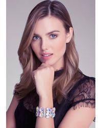 Bebe - Metallic Crystal Stretch Bracelet - Lyst