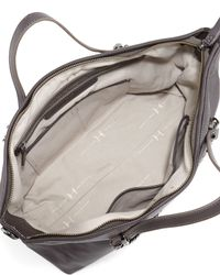 Halston - Gray Leather Satchel Bag With Chain Detail - Lyst