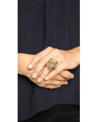 Oscar de la Renta | Metallic Floral Baguette Ring - Cry Gold Shadow | Lyst