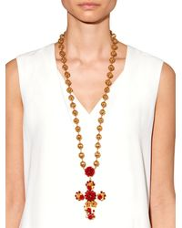 Dolce & Gabbana - Red Multi-Medal And Cross Necklace - Lyst