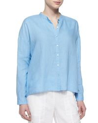 Eileen Fisher | Blue Mandarin-collar Organic Linen Long-sleeve Top | Lyst