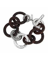 John Hardy - Black Palu Silver & Rosewood Link Bracelet for Men - Lyst