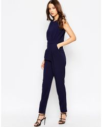 ASOS - Blue Tall Jumpsuit With Open Back And Pleat Detail - Lyst