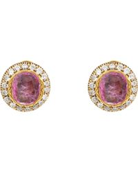 Munnu | Metallic Ruby & Diamond Oversize Circular Studs-colorless | Lyst