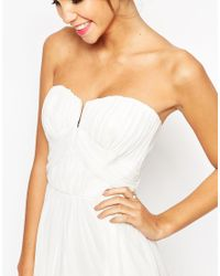 ASOS - White Wedding Ruched Bodice Bandeau Midi Dress - Lyst