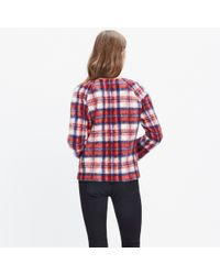 Madewell - Red Brushed Plaid Pullover Top - Lyst