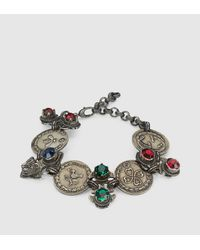 Gucci | Gray Bracelet With Coins And Crystals | Lyst