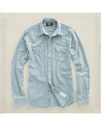 RRL | White Sawtooth Indigo Western Shirt for Men | Lyst