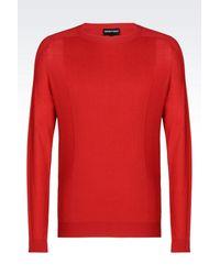 Emporio Armani - Red Jumper In Cotton And Silk for Men - Lyst