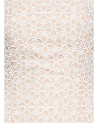 Alexander McQueen - Natural Floral Lace Bustier Chiffon Dress - Lyst