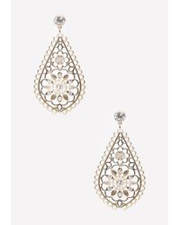 Bebe | Metallic Teardrop Flower Earrings | Lyst
