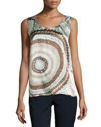 Lafayette 148 New York - Gray Talia Sleeveless Silk Print Top - Lyst