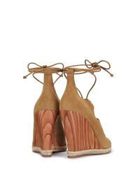 Tory Burch - Brown Raya Lace-up Wedge - Lyst