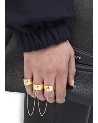 MFP MariaFrancescaPepe | Metallic 23 Karat Gold Plated Swarovski Chain Rings | Lyst