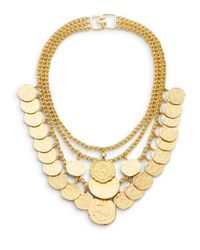 Kenneth Jay Lane | Metallic Triple-row Coin Charm Necklace | Lyst