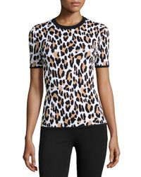 Michael Kors - Multicolor Leopard-print Short-sleeve Knit Top - Lyst