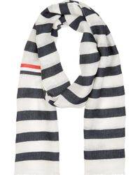 Thom Browne - Black And White Linen Woven Scarf for Men - Lyst