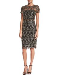 David Meister | Metallic Short-sleeve Embroidered Cocktail Dress | Lyst