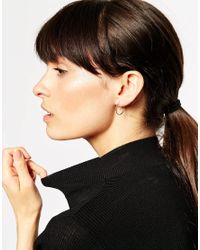 ASOS - Metallic Rose Gold Plated Sterling Silver Mismatch Fine Hoop Earrings - Lyst