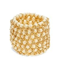 Kenneth Jay Lane | Metallic Faux Pearl Chain Cuff Bracelet | Lyst