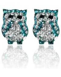 Aeravida | Jovial Bright Blue-white Owl Cubic Zirconia .925 Silver Stud Earrings | Lyst