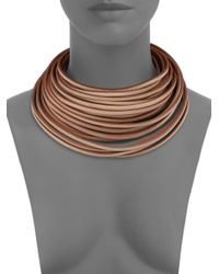 Brunello Cucinelli - Brown Leather Collar Necklace - Lyst