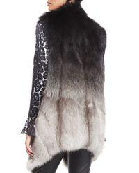 St. John - Gray Ombre Fox Fur Vest W/ Pockets - Lyst
