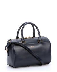 Saint Laurent - Blue Navy Leather Convertible Mini Duffle Bag - Lyst