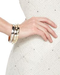 St. John | Metallic Two-tone Bangle With Large Pearls | Lyst