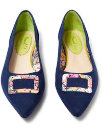 French Sole - Blue Navy Suede Buckle Penelope Flats - Lyst