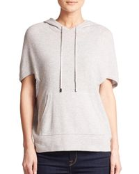 Saks Fifth Avenue | Gray Cashmere Hooded Short-sleeve Top | Lyst