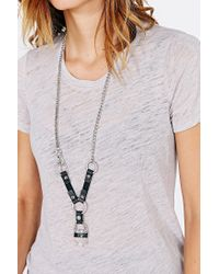 Urban Outfitters - Black Crystal Rocker Leather Necklace - Lyst
