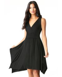 Bebe - Black Surplice Handkerchief Dress - Lyst