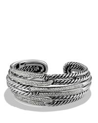 David Yurman | Metallic Labyrinth Triple-loop Cuff With Diamonds | Lyst