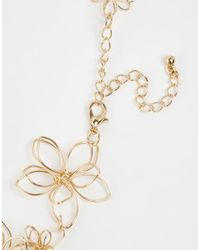 ASOS - Metallic 3D Flower Choker Necklace - Lyst